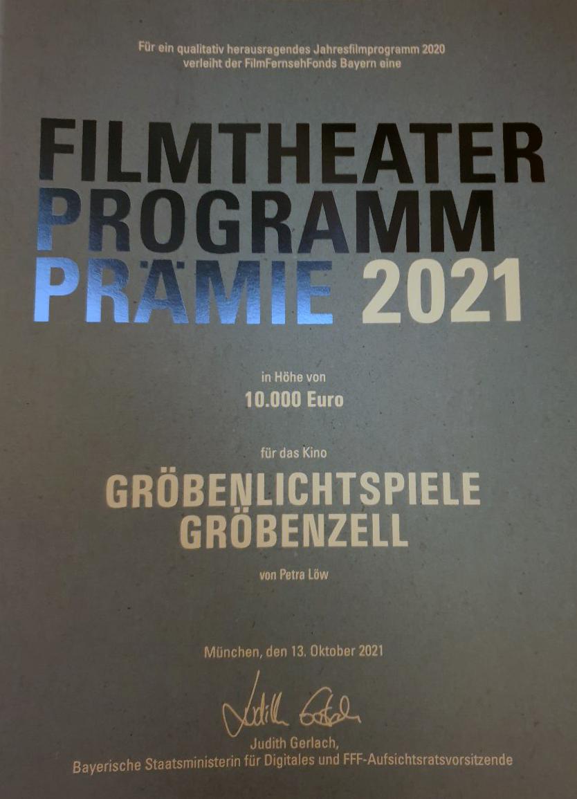 Filmtheater Programm Prämie 2021