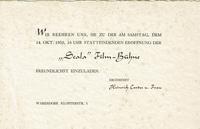 Einladung zur Eröffnung 1950